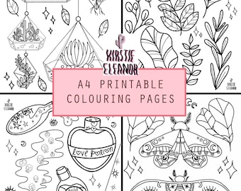 A4 Printable colouring pages - Plants, Moths and Potions