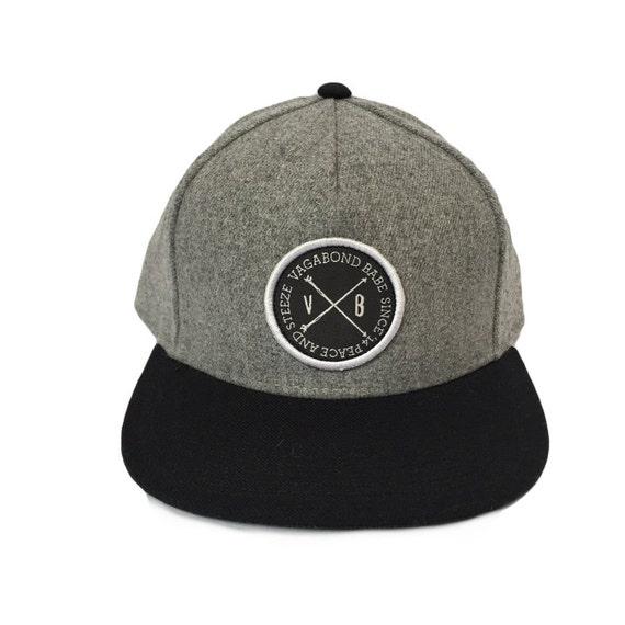 Grey Wool Flat brim Youth   Adult Hat adjustable snapback by  b76ccb02ba7
