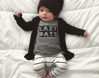 Lazy Days Heathered Gray Childrens Tshirt, Tee,  Girls Clothing, Boys Clothing, Printed by Vagabond Babe