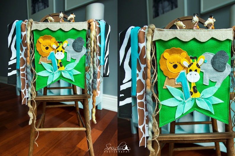 SAFARI ZOO Birthday Decorations Giraffe Highchair Banner Zoo