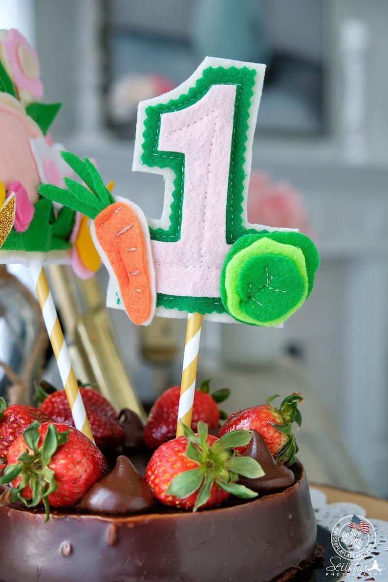 Vegetable birthday Vegetable Cake Decoration Bunny Birthday Cake Decoration Made Of Felt First Birthday Bunny Bunny Cake Decoration