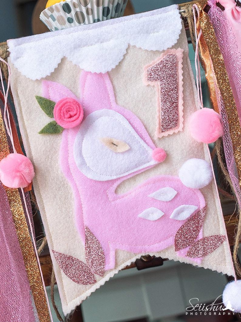 Pink Gold DEER ANTLERS High Chair Highchair Birthday Banner BOHEMIAN Floral Birthday Banner Deer Gold Birthday Tribal Floral Woodland