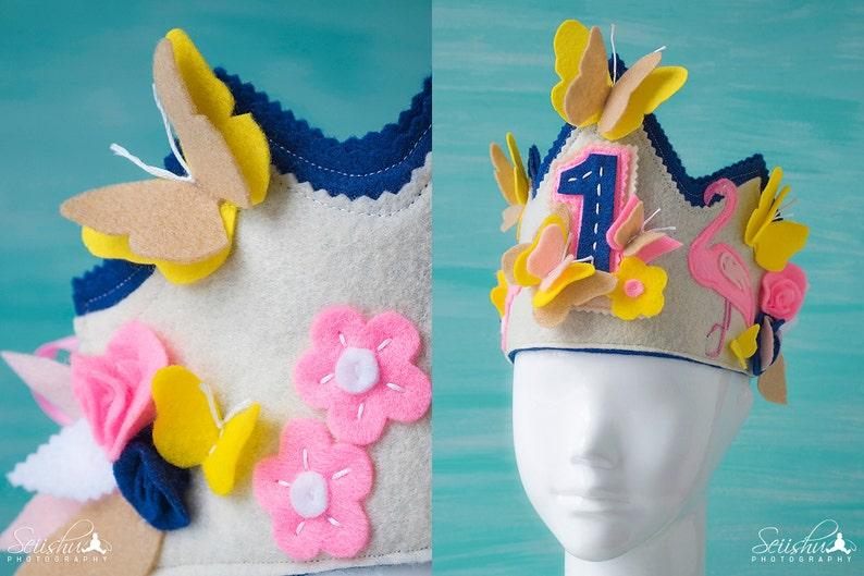 Kids Birthday Crown Butterfly Birthday Decor Flamingo Birthday Crown Butterfly Birthday Flamingo Birthday Butterfly Birthday Crown