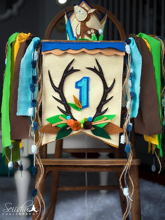 Baby Deer Banner, Woodland Birthday Banner, Woodland Crown, Woodland High Chair Banner, Cake Smash Woodland, Deer High Chair Banner