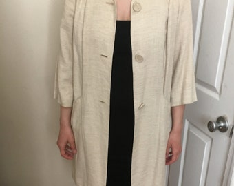 Cream 1960's Linen Spring Coat with Pockets