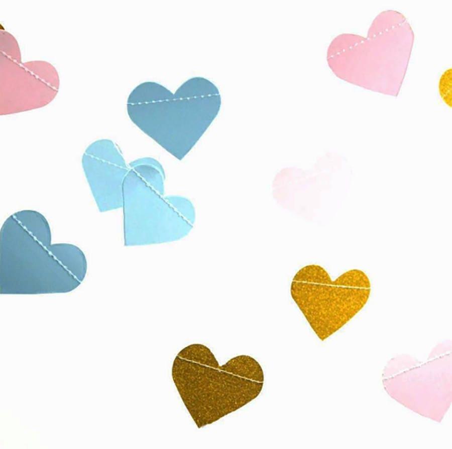 Gender Reveal Garland Gender Reveal Decorations Heart Etsy