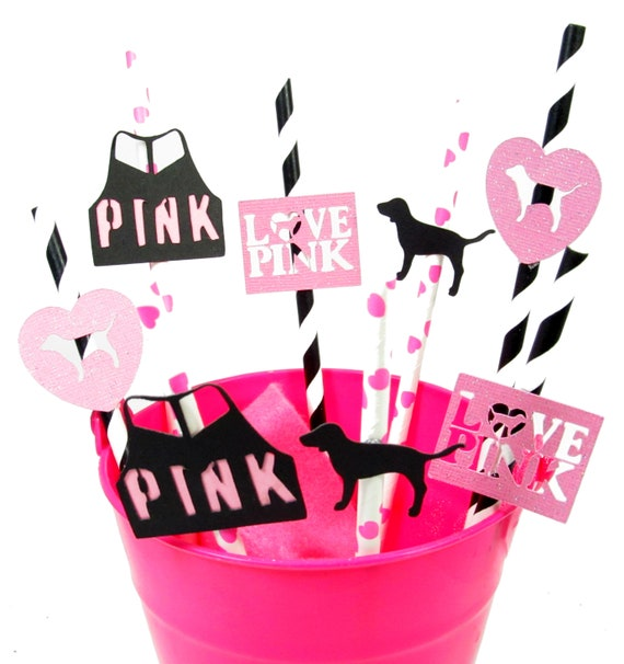 Victoria S Secret Pink Party Straws Pink By Etsy
