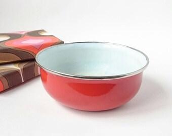 Red Enamel Bowl   rustic enamel kitchenware   camping