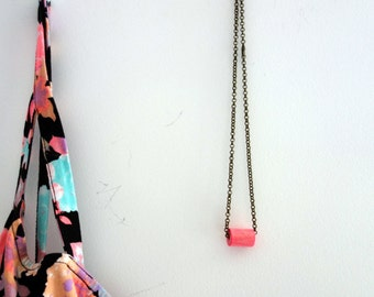 Brass necklace | pink bead, handmade, wood, recycle