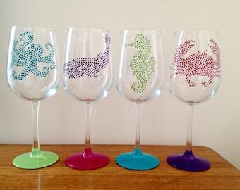 Sea Creature of 4 Wine Glasses