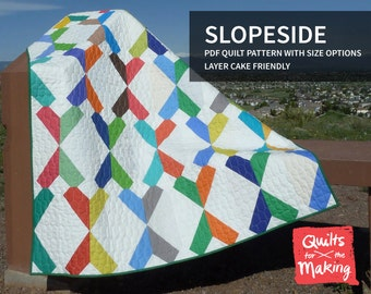 Slopeside PDF quilt pattern with size options, layer cake friendly