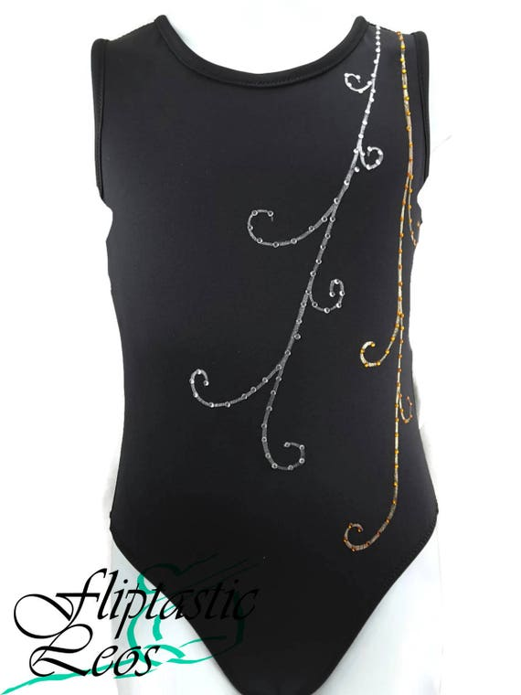 4d1c0d507 SALE Gymnastics Leotard Black Hand Painted Swirls with Bling