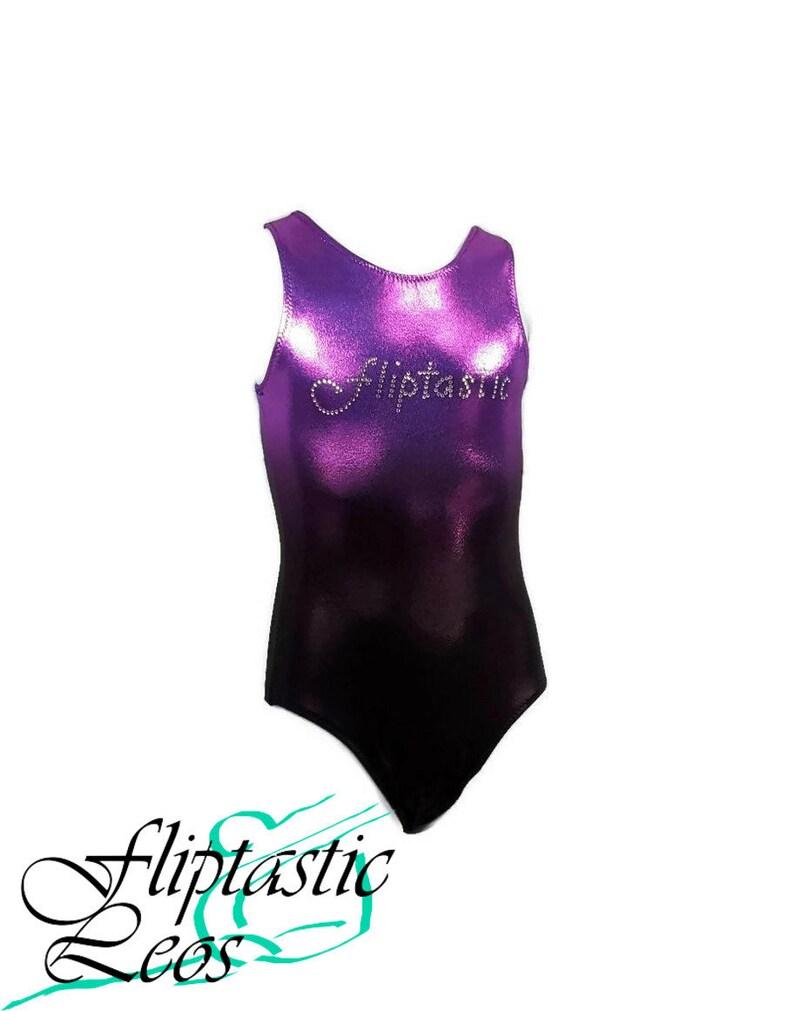 Teen Leotard Girls Gymnastics Leotard Purple to Black Ombre Mystique with Fliptastic Bling