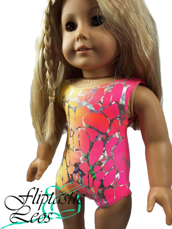Colorful Holographic Print Leotard Fits American girl dolls 18 inch Doll Clothes