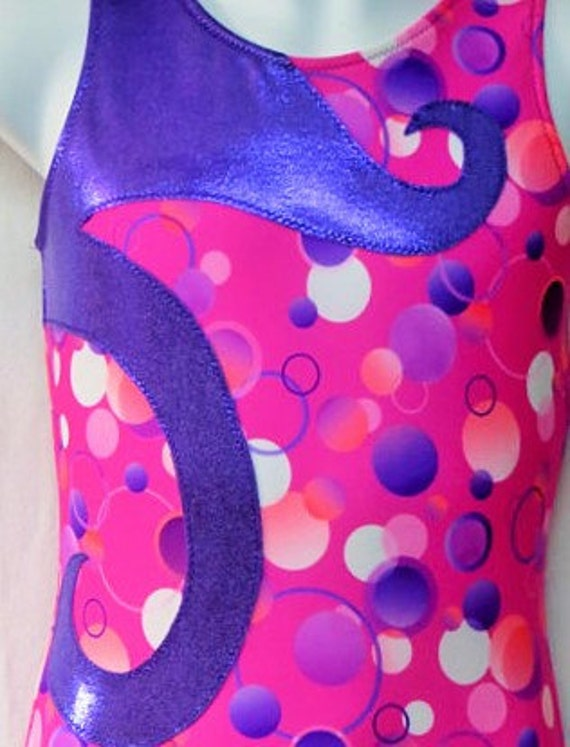 914675e60 SALE Gymnastics Leotard Pink With Purple Swirl Gymnast Dance