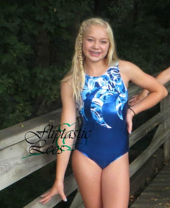 Women Leotard Girls Ice Blue Mystique Silver Side Applique Gymnastics Leotard