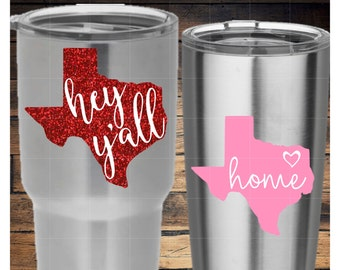 Texas Hey Y'all and Home Decal