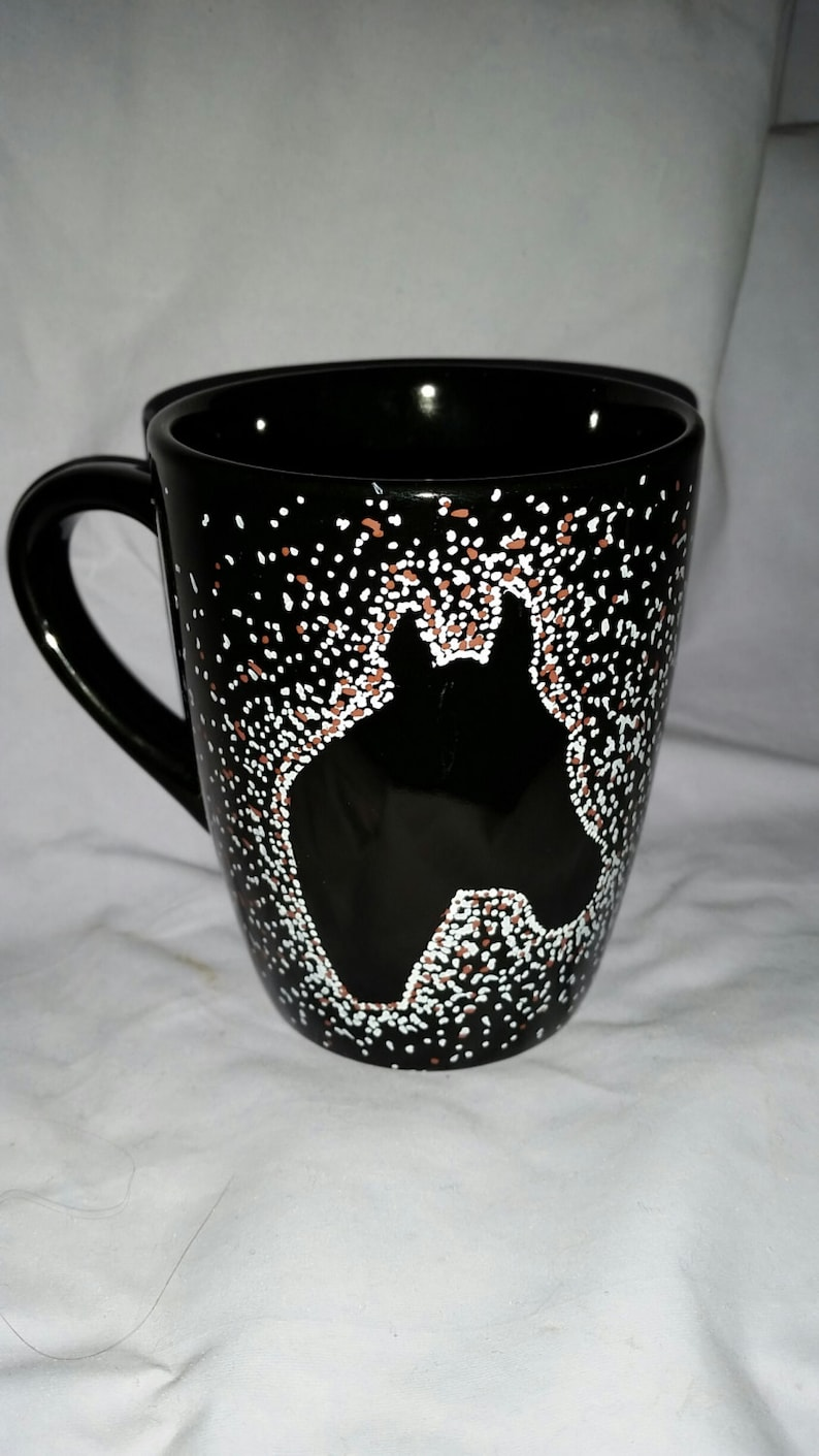 Horse Head Coffee Mug with horse silhouette Hand Painted image 0