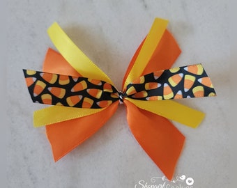 Candy Corn Halloween Bows, Bows,   Halloween, Craft, Ribbon, Bows, Cookies, Cookie Maker, Cookie Packaging, gift packaging