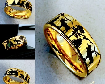 Thorsten Deer STAG Antlers Animal Reindeer Deer Stag Head Print Ring Flat Tungsten Ring 6mm Wide Wedding Band from Roy Rose Jewelry