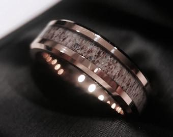 Rose Gold Antler Ring Antler Ring Deer Antler Wedding Bands Etsy