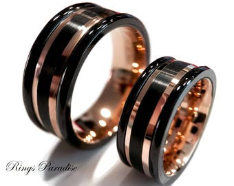 Black Rose Gold Tungsten Promise Ring Mens Rose Gold Wedding Etsy