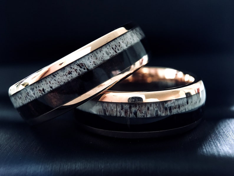 Antler Wood Wedding Band Mens Tungsten Band Wooden Ring Etsy