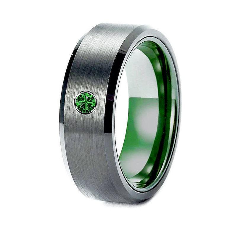 cad877bfc7543 Tungsten Wedding Bands Men Engagement Ring Black Green Mens Tungsten Ring  Gun Metal Ring Emerald Ring Men Tungsten Wedding Bands Brushed
