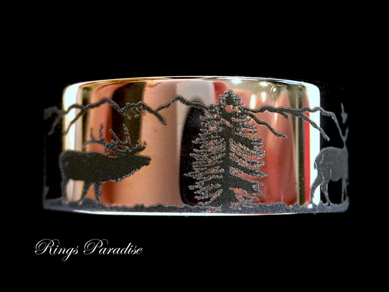 His and Her Promise Rings Men and Women Rings Antler Ring Engagement Rings Deer Antler Stag Mountains Forest landscape Wedding Bands