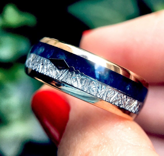 His and Hers Engagement Ring Blue Agate Wedding Ring for Women Promise Rings Rose Gold Arrow Inlay Meteorite Ring Mens Wedding Band