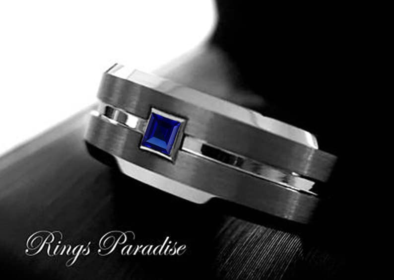 08d67f646ceae Men Tungsten Wedding Bands Square Sapphire Stone Setting Gun Metal Tungsten  Ring Mens Anniversary Ring, Wedding Ring His Promise Ring 8mm