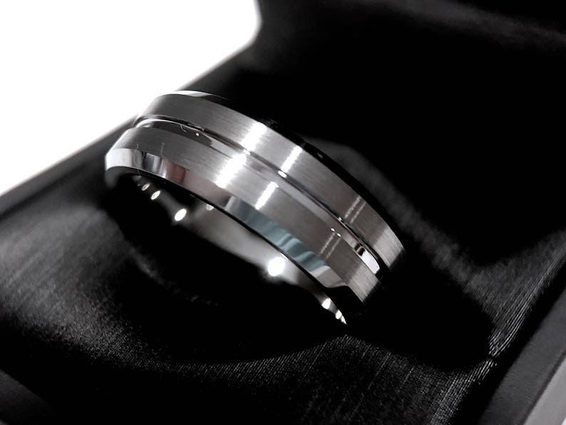 6a5a8b492a931 Mens Tungsten Wedding Bands, Mens Tungsten Ring with Black Square Diamond  Stone Setting, Mens Anniversary Ring, His Promise Ring, Mens Gift