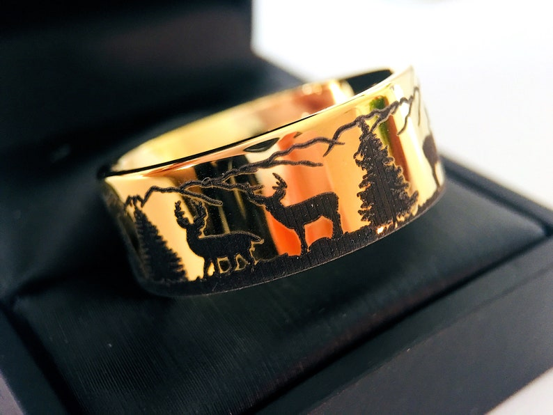 Yellow Gold Tungsten Custom Made Wedding Bands Mountains Forest landscape Hunter Rings Antler Ring Mens and Women Ring,Tungsten Rings