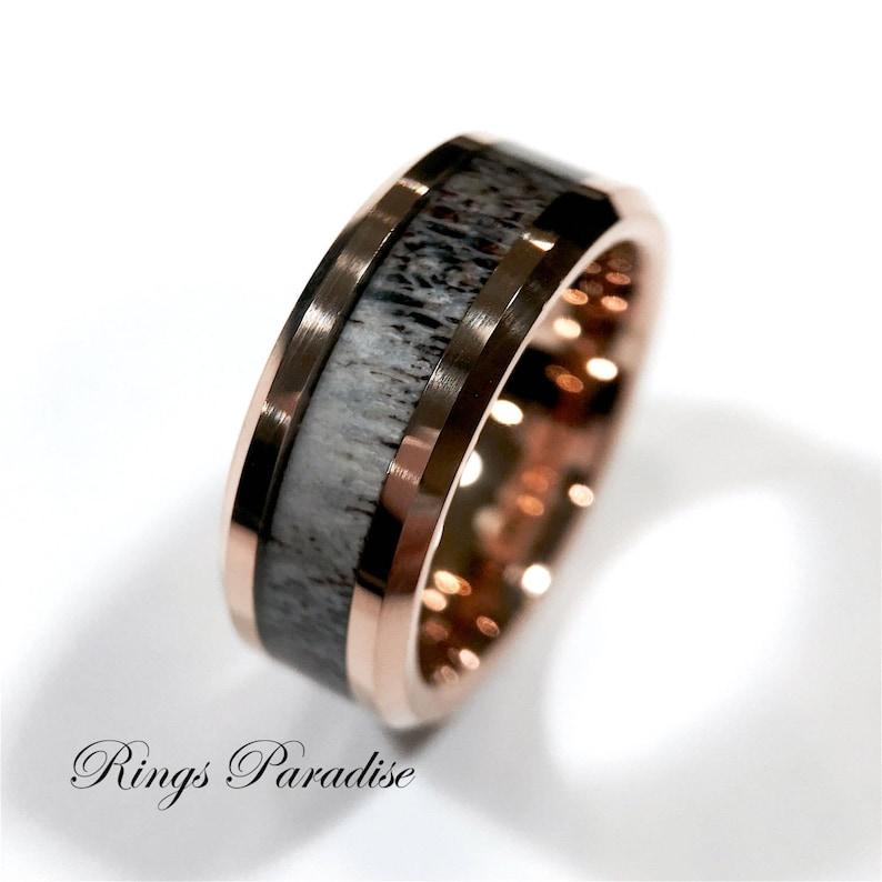 dd1db9817ddb6 Antler Rings Rose Gold Deer Antler Ring Men's Tungsten Ring Wedding Band  Engagement Rings Tungsten Wedding Bands Men's Women's Antler Rings