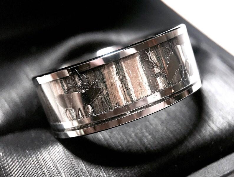 e57a9baa5161b Tungsten Wedding Band, Mens Tungsten Ring, Elk Antlers in Forest Wooden  Ring,Tungsten Wedding Bands, Mens Tungsten Wedding Ring, Anniversary