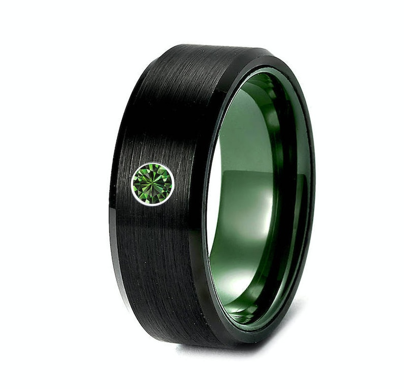 97d809279a797 Men Tungsten Wedding Band, His Promise Ring, Black and Green Tungsten Ring,  Green Wedding Bands, Black Tungsten Ring, Mens Ring, Green Stone