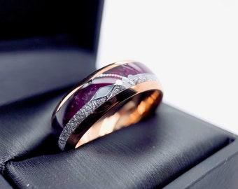 Mens Wedding Band, Rose Gold Tungsten Ring, Purple Agate & Meteorite Ring, Mens Tungsten Band, Arrow Inlay Ring, Men Women Wedding Bands
