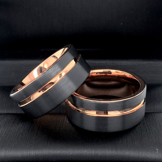 Men Wedding Bands His And Hers Promise Ring Black Rose Gold Tungsten Ring Wedding Bands Engagement Rings Mens Ring Rings For Women