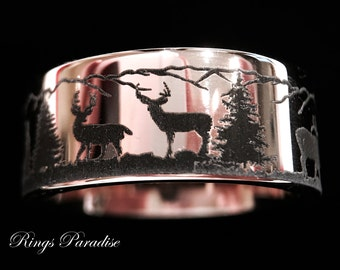 Wedding Bands, Deer Antler Ring, Mountains Forest landscape, Mens and Women Ring,Tungsten Rings, Custom Made, Hunter Rings by Rings Paradise