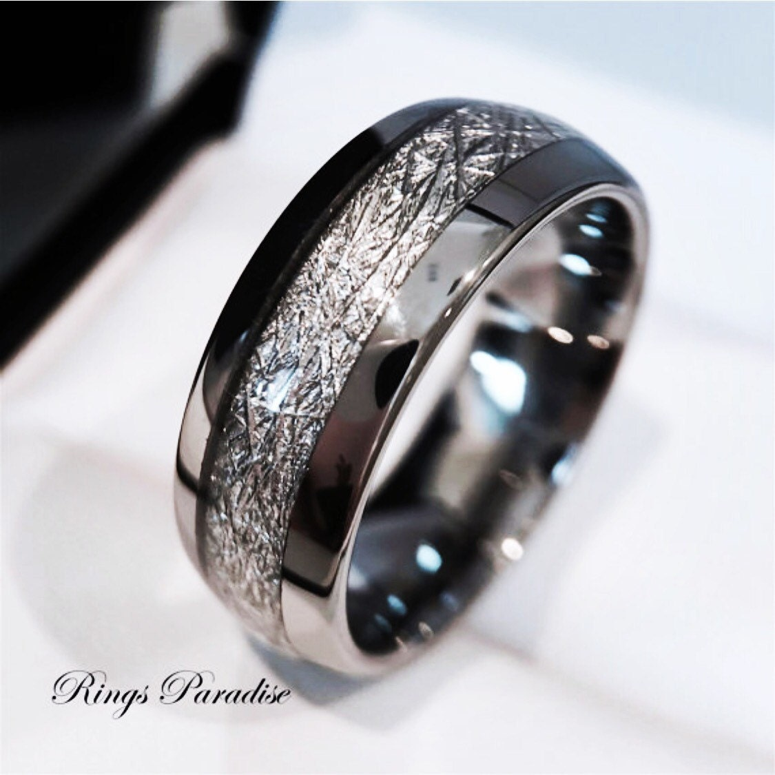 Tungsten Wedding Rings.Tungsten Wedding Band His And Her Promise Ring Imitated Meteorite Inlay Ring Tungsten Rings Men S Tungsten Rings Women S Wedding Bands