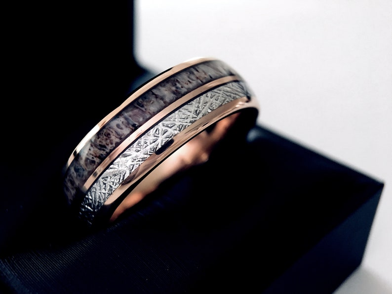 Antler and Wood Wedding Band Mens and Women Wedding Bands Rose Gold Tungsten Wedding Bands Mens Tungsten Ring Rings Mens Tungsten Band