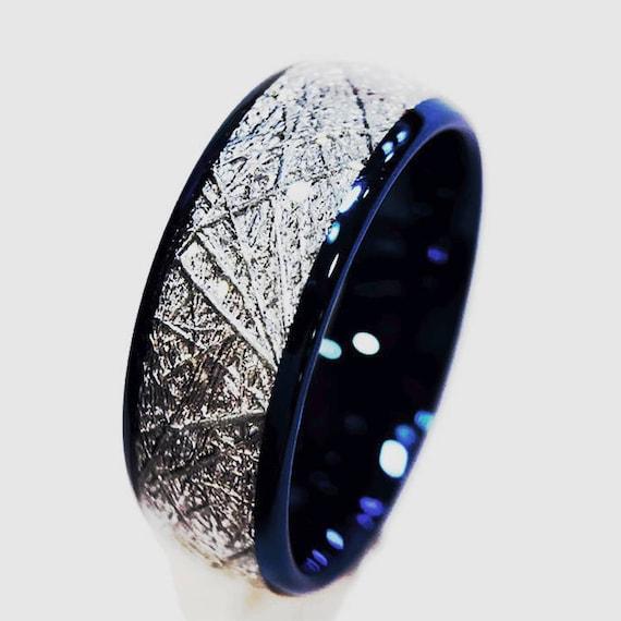 Blue Tungsten Wedding Bands Meteorite Rings Men's | Etsy