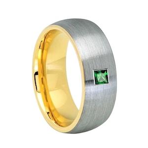 Gun Metal Mens Tungsten Wedding Bands Emerald Engagement Ring Mens Engagement Ring Mens Tungsten Wedding Bands Square Emerald Ring Band