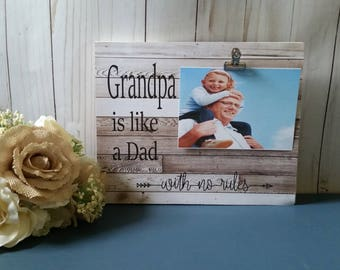 Wooden picture frame, Grandpa picture frame, grandpa photo frame, wood dad frame, the best dads