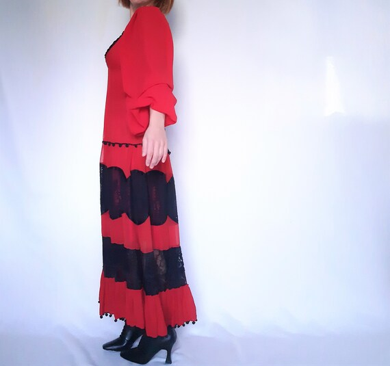 Red Maxi dress, lace detail dress, red vintage dr… - image 6