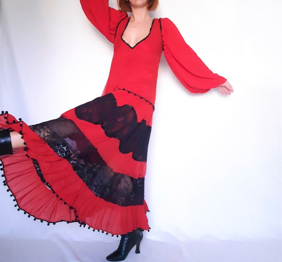 Red Maxi dress, lace detail dress, red vintage dr… - image 2