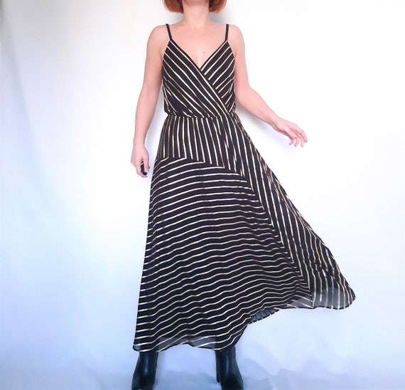 Black gold dress, midi dress, striped dress, vinta