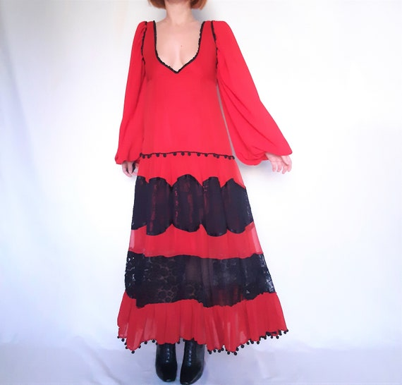 Red Maxi dress, lace detail dress, red vintage dr… - image 4