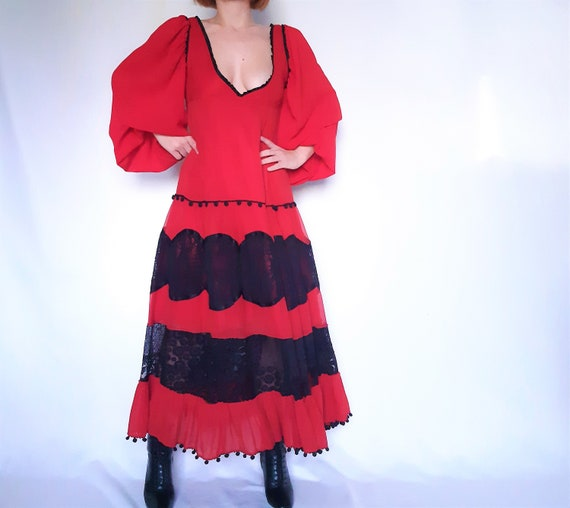 Red Maxi dress, lace detail dress, red vintage dr… - image 8