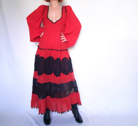 Red Maxi dress, lace detail dress, red vintage dr… - image 3
